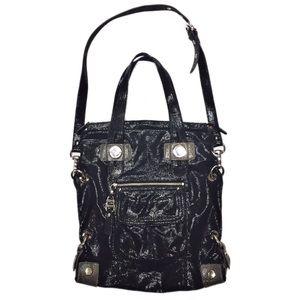 B. Makowsky Black Leather Tote Messenger B…